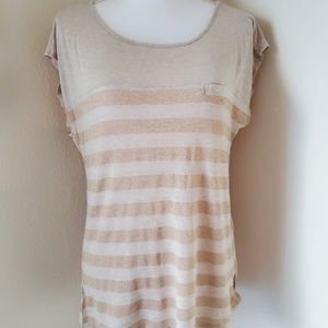 Francesca's Collections Metallic Striped TShirt